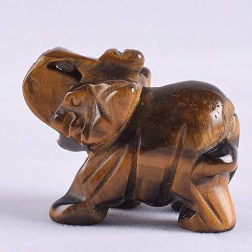 LDCP Elefanten Figur Kristall Mini Elefanten Stein Geschnitzte Statue Quarz Feng Shui Home Ornament Kunst Sammler Dekor 1 Stück, Tigerauge