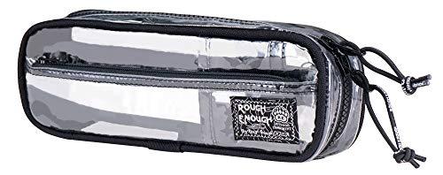 Rough Enough Klare Bleistift Fall mit Fächern für jungen Erwachsenen lange Stift Tasche TSA Organizer Beutel Lagerung Mufti-Funktionale Halter mit Reißverschluss Taschen für Schule Arbeit Büro Kunst (Große Pille Fall)