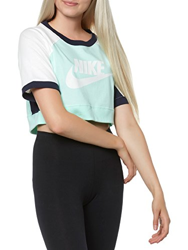 NIKE T-SHIRT DAMEN KURZARM O-NECK 909145 GRÜN GREEN WOMEN, Größe:L (Crop Top Nike)