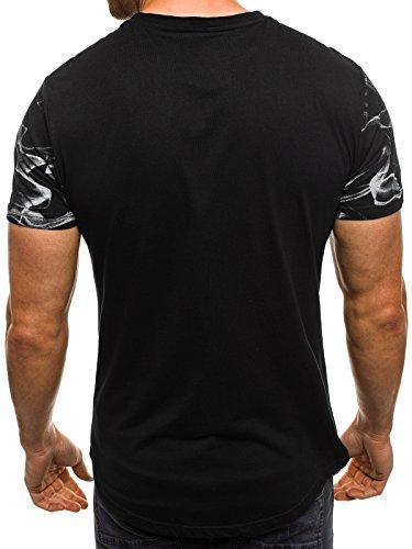 OZONEE Herren T-Shirt mit Motiv Kurzarm Rundhals Figurbetont BREEZY 541 Schwarz_J.STYLE-SS106