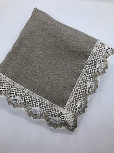 2 x Vintage nappe en lin pur gris, napperon, napperon décoré de dentelle de lin blanc et gris. Taille 36 x 36 cm