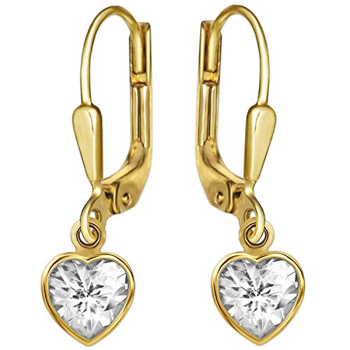 Clever Schmuck Goldene Damen Ohrhänger 23 mm mit Zirkonia Herz 8 mm glänzend 333 GOLD 8 KARAT im Etui