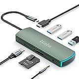 Hieha USB C Hub, 8 in 1 USB C Adapter Typ C Dockingstation mit 4K HDMI, 3*USB3.0,PD Ladeanschluss,SD/TF Kartenleser, LED Atmosphärenlicht Anzeige,Audio für MacBook Ipad Samsung Huawei und USB C Geräte