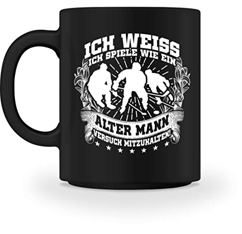 shirt-o-magic Eishockey: Wie ein alter Mann? - Tasse -M-Schwarz -