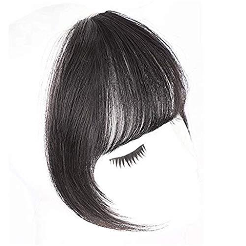 bobo4818 Clip in Pony Real Human Haar Erweiterungen Natürlich Schwarz Mensch Haare rein Fringe Straight Flat Bangs für Frauen -