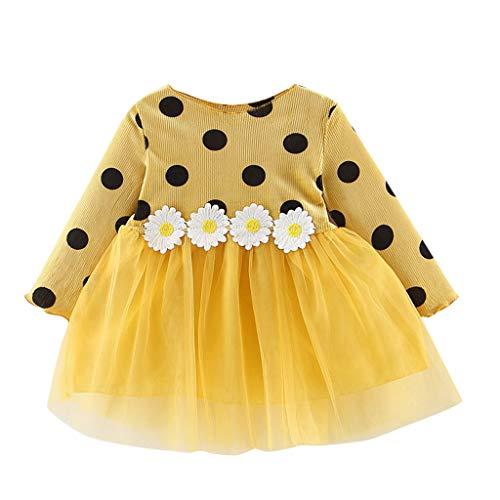 LEXUPE Baby Mädchen Kleid Blumen Spitze Tüll Taufkleid Kinder Hochzeits Festlich Kleider(Gelb,80)
