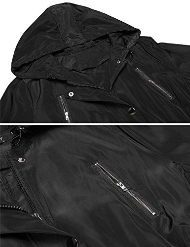 Damen Übergangsjacke, Pagacat Funktionsjacke Wasserdicht Atmungsaktiv mit Kapuze Tasche Regen Mantel S-XXL Schwarz