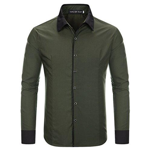 Men's Hawaiian Style Slim Fit Long Sleeve Casual Shirts Dark Green