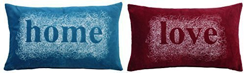 2x bestickt Spirale Home Love Blaugrün rot Samt Boudoir Kissenbezug 28x 48cm
