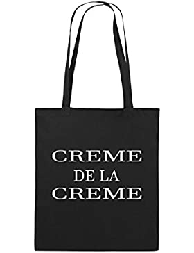 Comedy Bags - CREME DE LA CREME - Jutebeutel bedruckt, Baumwolltasche zwei lange Henkel aus 100 % Baumwolle in...