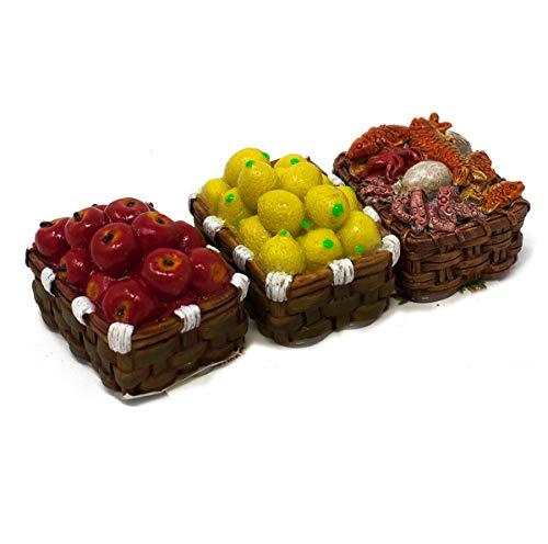 Joy christmas set 3 ceste con mele, limoni e pesce miniature per presepe 49531