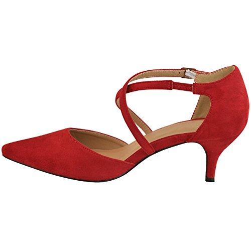 Fashion Thirsty Sandales à Petits Talons - Lanières - Mariage/Soirée - Femme Faux suède rouge/demoiselle honneur