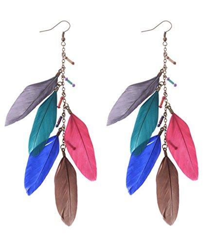 jovono pendientes colorido plumas bohemio largo pendientes colgantes para las mujeres y las niñas