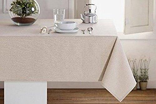 Mantel color 'natural' algodón plastificado (160cm de ancho)–Mantel antimanchas, 030 cm