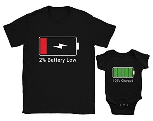 3fccb9425bc1c Green Turtle T-Shirts Papa Low Battery/Baby Full Cadeau Fête des Pères Noir