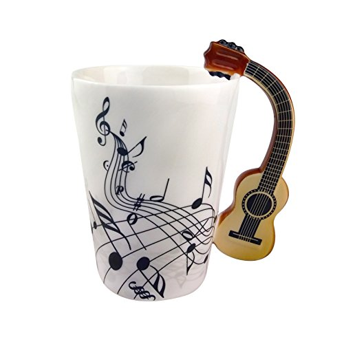 Musikalische Anmerkungs Entwurfs Keramik Kaffeetasse Teetassen, Kreativer Gitarren Griff Personifizieren Kaffeetasse Milch Becher, Für Geschenk Und Haushalts,Büro