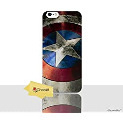 iPhone 7 Cómic Carcasa de Telefono / Cubierta para Apple iPhone 7 / Protector de Pantalla y Paño / iCHOOSE / Capitán América Escudo