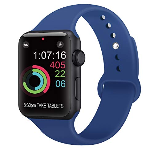 AK Compatibili con per Apple Watch Cinturino 42mm 38mm 44mm 40mm, Cinturini Sportivo in Silicone Ricambio Compatibili con per iwatch Series 4, Series 3, Series 2, Series 1 (10 Royal Blue, 42/44mm M/L)