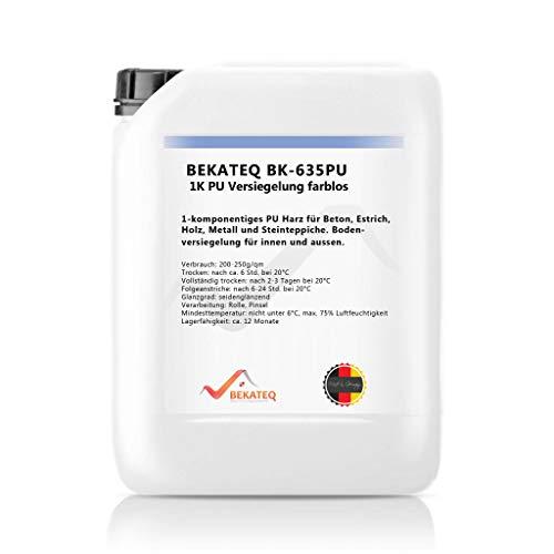 BEKATEQ BK-635PU 1K PU Versiegelung Farblos für Beton - Holz - Fliesen - Steinteppich aussen innen Bodenbeschichtung (1kg)