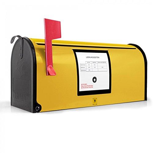 BANJADO US Mailbox | Amerikanischer Briefkasten 51x22x17cm | Letterbox Stahl schwarz | mit Motiv Briefkasten Gelb, Briefkasten:ohne Standfuß