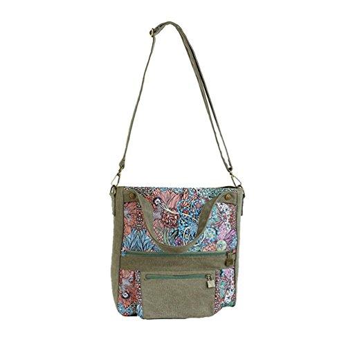 Chang Spent nuova borsa a tracolla di tela delle donne Mobile Messenger , green Green