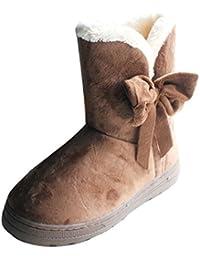 Gaorui Mujeres Botas de Nieve Sólidos Zapatos de Caña Media Invierno Suaves Bowknot Caliente Planos