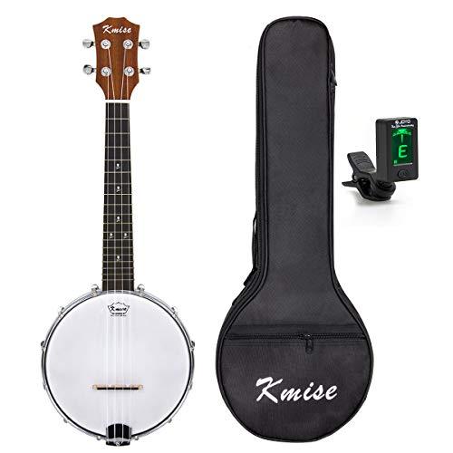 Kmise Banjolele, 4 Saiten Banjo-Ukelele, 58,4 cm, Konzertinstrument, Sapele-Holz, mit Tasche und Stimmgerät Konzert Banjo D