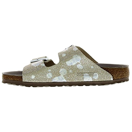 Birkenstock Womens Arizona Leather Sandals Spotted Metallic Silver