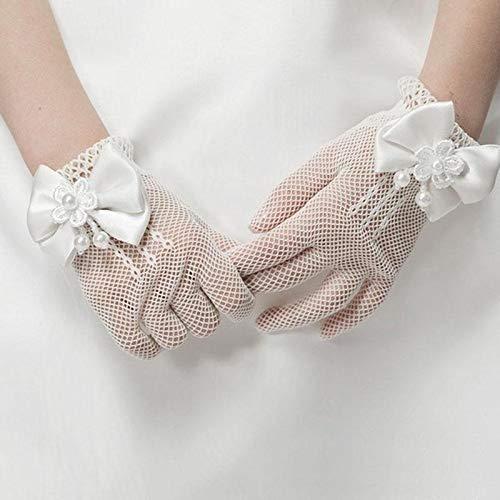 Schutzhandschuhe Mädchen-Kind-Spitze-Perlen-Netz-Handschuhe Kommunion Blumen-Mädchen-Hochzeits-Zeremonie Zubehör One Size (weiß) ZHUHX Handschuhe (Farbe : Weiß)