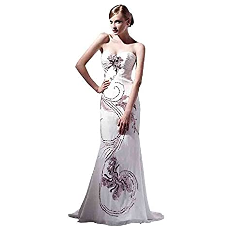 YUXING® wedding evening dress new long white train of high diamond satin range For evening, marriage, banquet