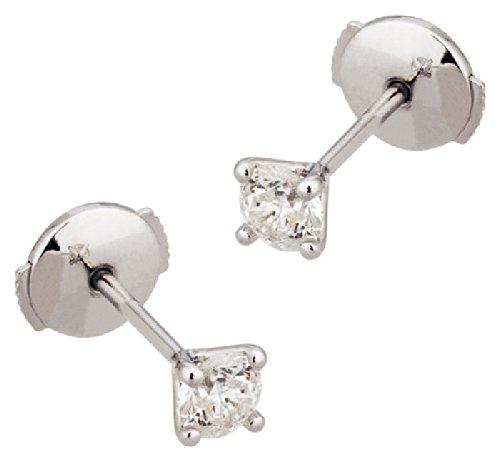 Orleo - REF6370BB : Boucles d'oreille Femme Or 18K blanc et Diamant - 0.225 carat