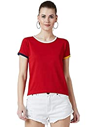 The Dry State Women Round Neck Short Sleeve Cotton T-Shirt