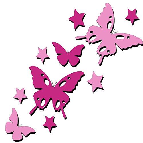 tjapalo® 2B3s (rosa/pink) viele Farben set bunte Schmetterlinge und Sterne Autoaufkleber Wandtattoo Schmetterlinge fürs Auto Fahrrad Aufkleber Sticker Fensterbild Fenster Schmetterlinge Aufkleber Fenster Aufkleber Schmetterlinge