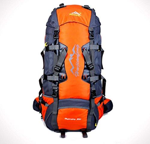 LQABW 80L Litri Multifunzionale Alpinismo Femminile Outdoor Sports Nylon Impermeabile Zaino Borsa A Tracolla Viaggio,Pink Orange