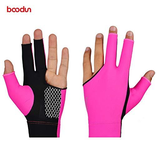 Xuanbao Arbeitshandschuhe Sport Snooker Handschuhe Linkshänder Billard Pool Handschuhe 3 Finger Zubehör für Männer, Frauen, Erwachsene Schnittfester Schutz (Farbe : Rot, Größe : M) -
