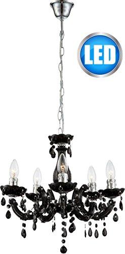 LED Kronleuchter Acryl-Krone Globo verschiedene Farben inkl. 5x 5 Watt Lüster Hängelampe Pendelleuchte (LED Schwarz)