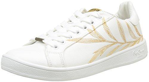 Pepe Jeans London Brompton Embroidery, Zapatillas para Mujer, Blanco (White), 37 EU