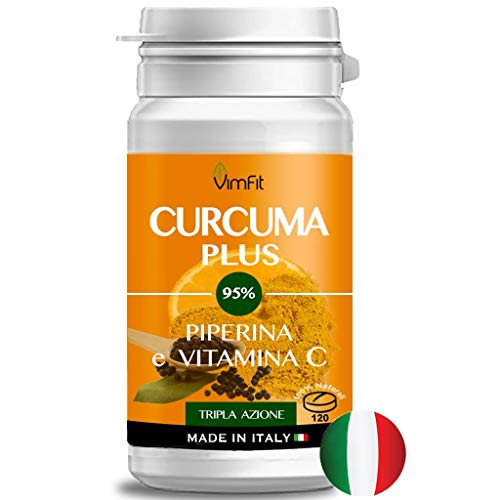 Vimfit CURCUMA PLUS 95{647f7ab43869fca29d2da262fee3885f2327ed0c6ce9ef75a6f031aa26aa78f1} + piperina + vitamina C |120 compresse Naturali ad Alto dosaggio|Tripla azione| Antinfiammatorio, Antiossidante, Antidolorifico| Qualità garantita-made in italy