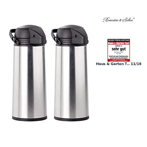 Rosenstein & Söhne Thermo-Pumpkanne: 2er Pack Edelstahl-Pump-Vakuum-Isolierkanne, 1,9 Liter (Thermo-Kannen)
