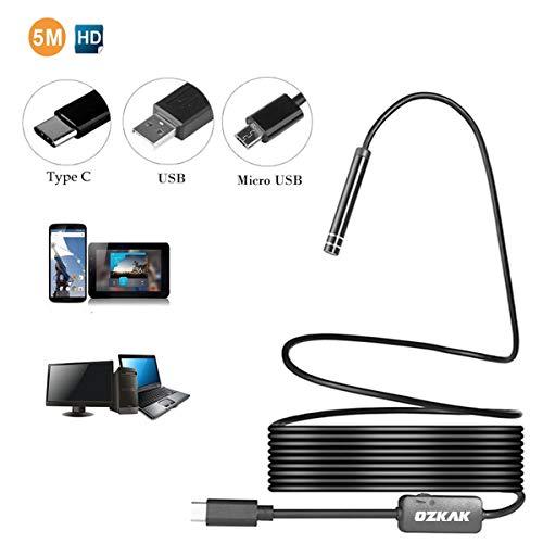 Endoskop 5m Inspektionskamera 3 in 1 Type C/USB/Micro USB Borescope 5,5mm Halb Steif Endoskopkamera Schlange Kamera Rohrkamera Wasserdicht für Android Smartphones Tablet mit OTG+UVC und PC Laptop