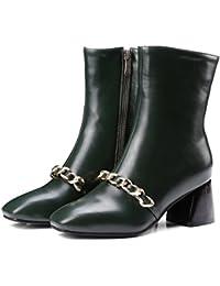 MEI&S La mujer de cabeza cuadrada de bloque corto Botines zapatos bombas