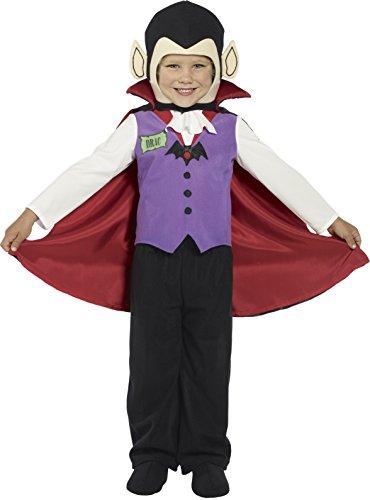 Smiffys, Kinder Jungen Vampir Kostüm, Hose, Oberteil, Überschuhe, Umhang und Kopfteil, Größe: T1 (Kleinkind Small), 36169