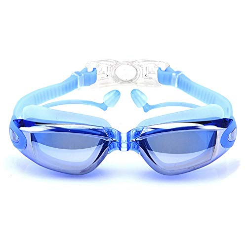 Szblk Tauchspiegel Wasserdicht Anti-Fog und Anti-UV Schwimmen 400 Schutz Transparente Linse HD Brille Ohrstöpsel Geeignet for Tauchen Schwimmen (Color : Blue)