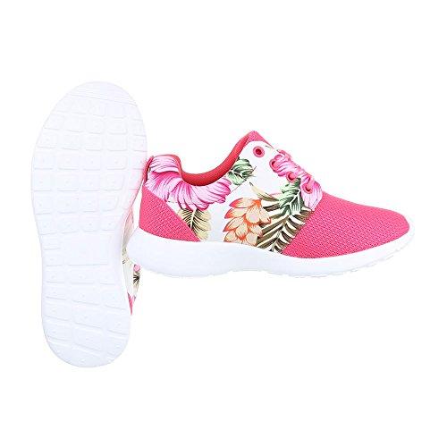 Low-Top Sneaker Damenschuhe Low-Top Sneakers Schnürsenkel Ital-Design Freizeitschuhe Pink Multi B2316-DB