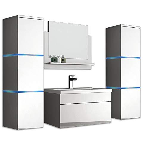 Home Deluxe - Badmöbel-Set - Wangerooge weiß - XL - inkl. Waschbecken und komplettem Zub