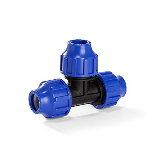H2O-Flex PP-Fitting, Klemmverbinder - 32er T-Stück für PE-Rohr, 32 mm, DVGW
