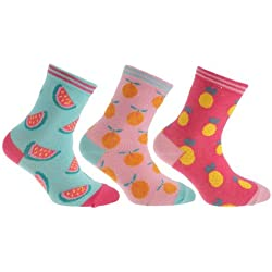 Pertemba Global Paquete de 3 pares de calcetines de algodón con diseño de frutas (23-26 EU/Piña/Naranja/Sandía)