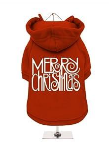 "''Christmas: Merry Christmas'' UrbanPup Fleece-Lined Dog Sweatshirt (Red / White) (Small - Body Length: 10"" / 25cm) by UrbanPup"