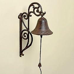 Sonnette, clochette de porte en fonte marron antique, style de maison de campagne