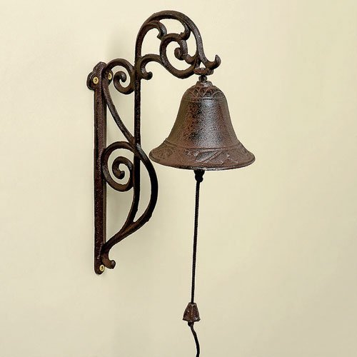 Campanello porta, antica ghisa marrone, casa